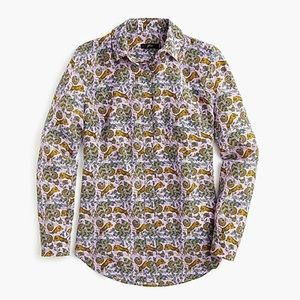 NWT J. Crew Silk Button up in Tiger Floral size 4
